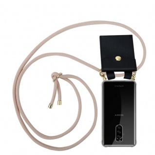Cadorabo Handy Kette für Sony Xperia 1 in PERLIG ROSÉGOLD - Silikon Necklace Umhänge Hülle mit Gold Ringen, Kordel Band Schnur und abnehmbarem Etui ? Schutzhülle
