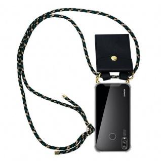 Cadorabo Handy Kette für Huawei P20 LITE in CAMOUFLAGE ? Silikon Necklace Umhänge Hülle mit Gold Ringen, Kordel Band Schnur und abnehmbarem Etui ? Schutzhülle