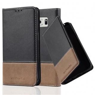 Cadorabo Hülle für Samsung Galaxy S6 EDGE in SCHWARZ BRAUN ? Handyhülle mit Magnetverschluss, Standfunktion und Kartenfach ? Case Cover Schutzhülle Etui Tasche Book Klapp Style