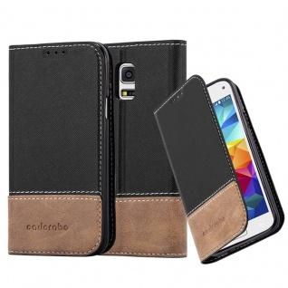 Cadorabo Hülle für Samsung Galaxy S5 MINI / S5 MINI DUOS in SCHWARZ BRAUN ? Handyhülle mit Magnetverschluss, Standfunktion und Kartenfach ? Case Cover Schutzhülle Etui Tasche Book Klapp Style