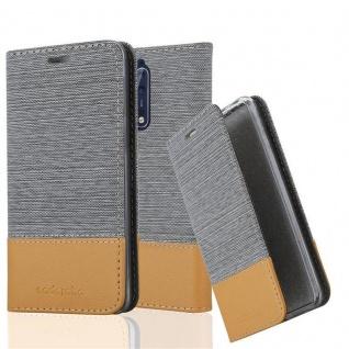 Cadorabo Hülle für Nokia 8 2017 in HELL GRAU BRAUN - Handyhülle mit Magnetverschluss, Standfunktion und Kartenfach - Case Cover Schutzhülle Etui Tasche Book Klapp Style