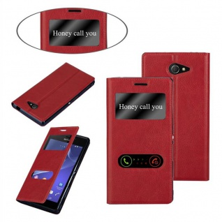 Cadorabo Hülle für Sony Xperia M2 / M2 Aqua in SAFRAN ROT - Handyhülle mit Magnetverschluss, Standfunktion und 2 Sichtfenstern - Case Cover Schutzhülle Etui Tasche Book Klapp Style - Vorschau 3