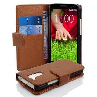 Cadorabo Hülle für LG G2 MINI in COGNAC BRAUN ? Handyhülle aus strukturiertem Kunstleder mit Standfunktion und Kartenfach ? Case Cover Schutzhülle Etui Tasche Book Klapp Style