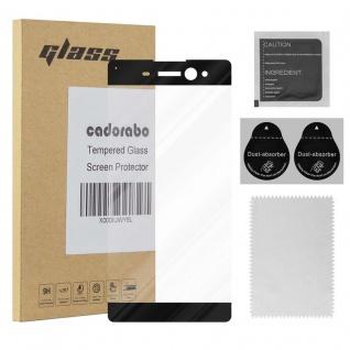 Cadorabo Vollbild Panzer Folie für Sony Xperia XA ULTRA - Schutzfolie in TRANSPARENT mit SCHWARZ - Gehärtetes (Tempered) Display-Schutzglas in 9H Härte mit 3D Touch Kompatibilität