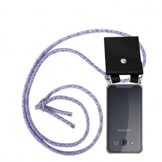 Cadorabo Handy Kette für Samsung Galaxy J5 2015 in UNICORN - Silikon Necklace Umhänge Hülle mit Silber Ringen, Kordel Band Schnur und abnehmbarem Etui - Schutzhülle