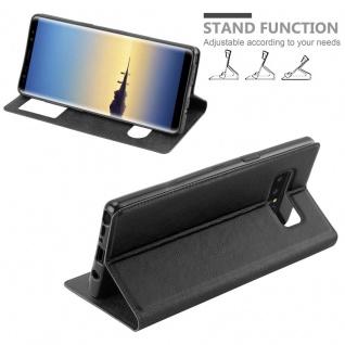Cadorabo Hülle für Samsung Galaxy NOTE 8 in KOMETEN SCHWARZ Handyhülle mit Magnetverschluss, Standfunktion und 2 Sichtfenstern Case Cover Schutzhülle Etui Tasche Book Klapp Style - Vorschau 4