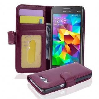 Cadorabo Hülle für Samsung Galaxy GRAND PRIME in BORDEAUX LILA ? Handyhülle mit Magnetverschluss und 3 Kartenfächern ? Case Cover Schutzhülle Etui Tasche Book Klapp Style