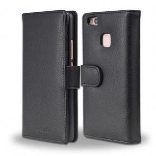 Cadorabo Hülle für Huawei P9 LITE in OXID SCHWARZ ? Handyhülle mit Magnetverschluss und 3 Kartenfächern ? Case Cover Schutzhülle Etui Tasche Book Klapp Style