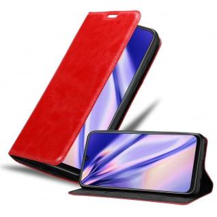 Cadorabo Hülle für Samsung Galaxy M21 in APFEL ROT Handyhülle mit Magnetverschluss, Standfunktion und Kartenfach Case Cover Schutzhülle Etui Tasche Book Klapp Style