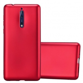Cadorabo Hülle für Nokia 8 2017 in METALLIC ROT - Handyhülle aus flexiblem TPU Silikon - Silikonhülle Schutzhülle Ultra Slim Soft Back Cover Case Bumper