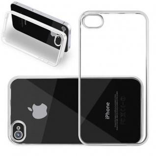 Cadorabo Hülle für Apple iPhone 4 / iPhone 4S - Hülle in TRANSPARENT mit CHROM SILBER ? Handyhülle aus TPU Silikon im Chrom Design - Silikonhülle Schutzhülle Ultra Slim Soft Back Cover Case Bumper