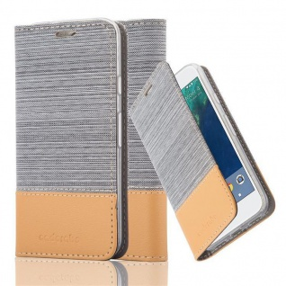 Cadorabo Hülle für Google Pixel in HELL GRAU BRAUN - Handyhülle mit Magnetverschluss, Standfunktion und Kartenfach - Case Cover Schutzhülle Etui Tasche Book Klapp Style