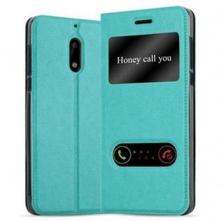 Cadorabo Hülle für Nokia 6 2017 in MINT TÜRKIS Handyhülle mit Magnetverschluss, Standfunktion und 2 Sichtfenstern Case Cover Schutzhülle Etui Tasche Book Klapp Style