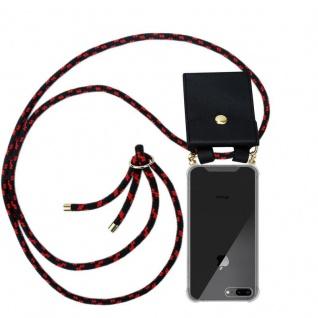 Cadorabo Handy Kette für Apple iPhone 8 PLUS / 7 PLUS / 7S PLUS in SCHWARZ ROT - Silikon Necklace Umhänge Hülle mit Gold Ringen, Kordel Band Schnur und abnehmbarem Etui ? Schutzhülle