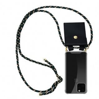 Cadorabo Handy Kette für Apple iPhone 11 PRO MAX (XI PRO MAX) in CAMOUFLAGE - Silikon Necklace Umhänge Hülle mit Gold Ringen, Kordel Band Schnur und abnehmbarem Etui - Schutzhülle