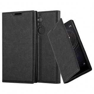Cadorabo Hülle für Sony Xperia L2 in NACHT SCHWARZ - Handyhülle mit Magnetverschluss, Standfunktion und Kartenfach - Case Cover Schutzhülle Etui Tasche Book Klapp Style