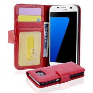 Cadorabo Hülle für Samsung Galaxy S7 in INFERNO ROT ? Handyhülle mit Magnetverschluss und 3 Kartenfächern ? Case Cover Schutzhülle Etui Tasche Book Klapp Style