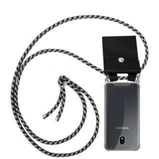 Cadorabo Handy Kette für Samsung Galaxy J7 2017 in DUNKELBLAU GELB - Silikon Necklace Umhänge Hülle mit Silber Ringen, Kordel Band Schnur und abnehmbarem Etui - Schutzhülle