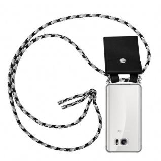 Cadorabo Handy Kette für Samsung Galaxy NOTE 5 in SCHWARZ CAMOUFLAGE - Silikon Necklace Umhänge Hülle mit Silber Ringen, Kordel Band Schnur und abnehmbarem Etui - Schutzhülle