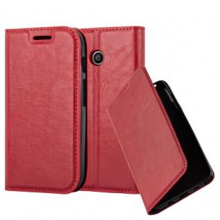 Cadorabo Hülle für Motorola MOTO E1 in APFEL ROT Handyhülle mit Magnetverschluss, Standfunktion und Kartenfach Case Cover Schutzhülle Etui Tasche Book Klapp Style