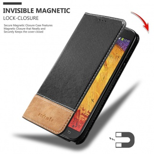 Cadorabo Hülle für Samsung Galaxy NOTE 3 NEO in SCHWARZ BRAUN ? Handyhülle mit Magnetverschluss, Standfunktion und Kartenfach ? Case Cover Schutzhülle Etui Tasche Book Klapp Style - Vorschau 3
