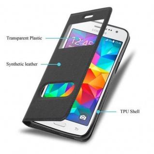 Cadorabo Hülle für Samsung Galaxy GRAND PRIME in KOMETEN SCHWARZ ? Handyhülle mit Magnetverschluss, Standfunktion und 2 Sichtfenstern ? Case Cover Schutzhülle Etui Tasche Book Klapp Style - Vorschau 5