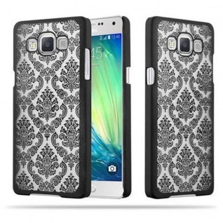 Samsung Galaxy A5 2015 Hardcase Hülle in SCHWARZ von Cadorabo - Blumen Paisley Henna Design Schutzhülle ? Handyhülle Bumper Back Case Cover