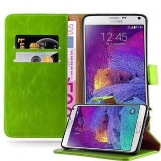 Cadorabo Hülle für Samsung Galaxy NOTE 4 in GRAS GRÜN ? Handyhülle mit Magnetverschluss, Standfunktion und Kartenfach ? Case Cover Schutzhülle Etui Tasche Book Klapp Style