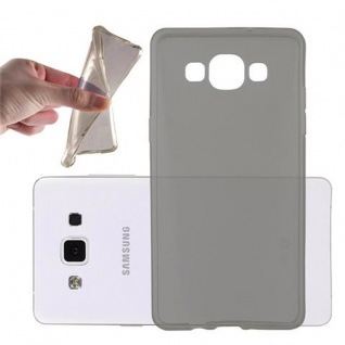 Cadorabo Hülle für Samsung Galaxy A5 2015 in TRANSPARENT SCHWARZ - Handyhülle aus flexiblem TPU Silikon - Silikonhülle Schutzhülle Ultra Slim Soft Back Cover Case Bumper