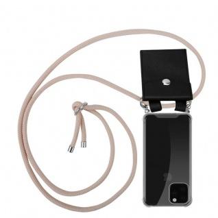 Cadorabo Handy Kette für Apple iPhone 11 PRO MAX (XI PRO MAX) in PERLIG ROSÉGOLD - Silikon Necklace Umhänge Hülle mit Silber Ringen, Kordel Band Schnur und abnehmbarem Etui - Schutzhülle