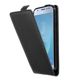 Cadorabo Hülle für Samsung Galaxy J3 2017 in OXID SCHWARZ - Handyhülle im Flip Design aus strukturiertem Kunstleder - Case Cover Schutzhülle Etui Tasche Book Klapp Style