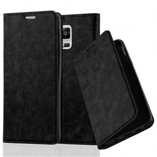 Cadorabo Hülle für Samsung Galaxy NOTE 4 - Hülle in NACHT SCHWARZ ? Handyhülle mit Magnetverschluss, Standfunktion und Kartenfach - Case Cover Schutzhülle Etui Tasche Book Klapp Style