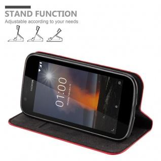 Cadorabo Hülle für Nokia 1 2017 in APFEL ROT - Handyhülle mit Magnetverschluss, Standfunktion und Kartenfach - Case Cover Schutzhülle Etui Tasche Book Klapp Style - Vorschau 4