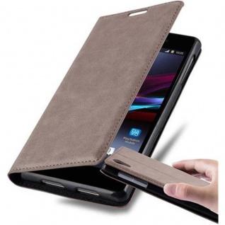 Cadorabo Hülle für Sony Xperia Z1 in KAFFEE BRAUN - Handyhülle mit Magnetverschluss, Standfunktion und Kartenfach - Case Cover Schutzhülle Etui Tasche Book Klapp Style