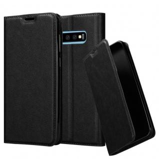 Cadorabo Hülle für Samsung Galaxy S10 PLUS in NACHT SCHWARZ - Handyhülle mit Magnetverschluss, Standfunktion und Kartenfach - Case Cover Schutzhülle Etui Tasche Book Klapp Style