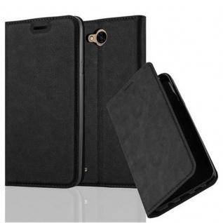 Cadorabo Hülle für LG X POWER 2 in NACHT SCHWARZ - Handyhülle mit Magnetverschluss, Standfunktion und Kartenfach - Case Cover Schutzhülle Etui Tasche Book Klapp Style
