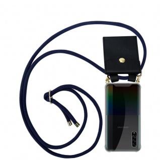 Cadorabo Handy Kette für Samsung Galaxy A90 5G in TIEF BLAU - Silikon Necklace Umhänge Hülle mit Gold Ringen, Kordel Band Schnur und abnehmbarem Etui - Schutzhülle