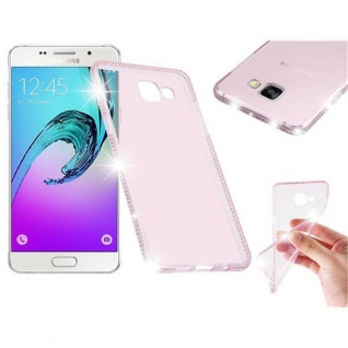 Cadorabo Hülle für Samsung Galaxy A5 2016 (6) - Hülle in TRANSPARENT ROSA - Handyhülle aus TPU Silikon im Strass Design - Silikonhülle Schutzhülle Ultra Slim Soft Back Cover Case Bumper
