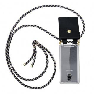 Cadorabo Handy Kette für Samsung Galaxy NOTE 4 in DUNKELBLAU GELB - Silikon Necklace Umhänge Hülle mit Gold Ringen, Kordel Band Schnur und abnehmbarem Etui ? Schutzhülle