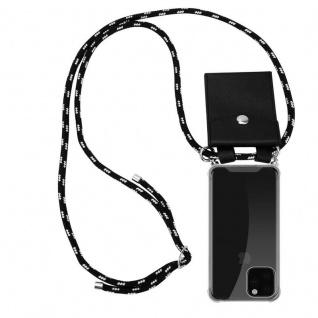 Cadorabo Handy Kette für Apple iPhone 11 PRO MAX (XI PRO MAX) in SCHWARZ SILBER - Silikon Necklace Umhänge Hülle mit Silber Ringen, Kordel Band Schnur und abnehmbarem Etui - Schutzhülle