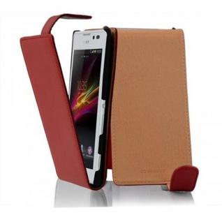 Cadorabo Hülle für Sony Xperia C in INFERNO ROT - Handyhülle im Flip Design aus strukturiertem Kunstleder - Case Cover Schutzhülle Etui Tasche Book Klapp Style