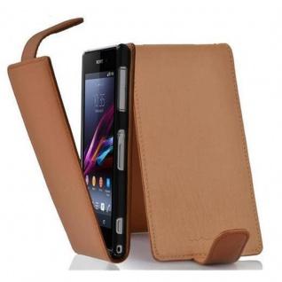 Cadorabo Hülle für Sony Xperia Z1 in COGNAC BRAUN - Handyhülle im Flip Design aus strukturiertem Kunstleder - Case Cover Schutzhülle Etui Tasche Book Klapp Style