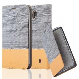 Cadorabo Hülle für Nokia 1 2017 in HELL GRAU BRAUN - Handyhülle mit Magnetverschluss, Standfunktion und Kartenfach - Case Cover Schutzhülle Etui Tasche Book Klapp Style