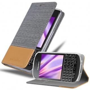 Cadorabo Hülle für Blackberry Q10 in HELL GRAU BRAUN - Handyhülle mit Magnetverschluss, Standfunktion und Kartenfach - Case Cover Schutzhülle Etui Tasche Book Klapp Style
