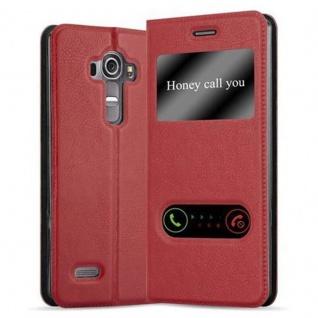 Cadorabo Hülle für LG G4 / G4 PLUS in SAFRAN ROT ? Handyhülle mit Magnetverschluss, Standfunktion und 2 Sichtfenstern ? Case Cover Schutzhülle Etui Tasche Book Klapp Style
