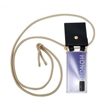 Cadorabo Handy Kette für Honor 30 in GLÄNZEND BRAUN Silikon Necklace Umhänge Hülle mit Gold Ringen, Kordel Band Schnur und abnehmbarem Etui Schutzhülle