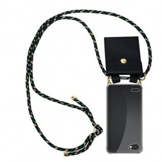 Cadorabo Handy Kette für LG Q6 in CAMOUFLAGE - Silikon Necklace Umhänge Hülle mit Gold Ringen, Kordel Band Schnur und abnehmbarem Etui ? Schutzhülle