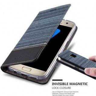 Cadorabo Hülle für Samsung Galaxy S7 in DUNKEL BLAU SCHWARZ - Handyhülle mit Magnetverschluss, Standfunktion und Kartenfach - Case Cover Schutzhülle Etui Tasche Book Klapp Style