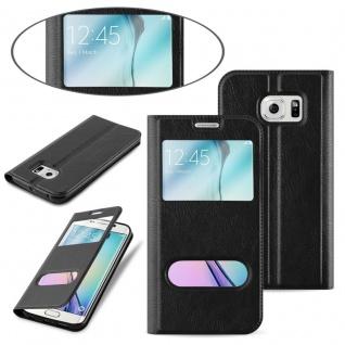 Cadorabo Hülle für Samsung Galaxy S6 EDGE PLUS in KOMETEN SCHWARZ - Handyhülle mit Magnetverschluss, Standfunktion und 2 Sichtfenstern - Case Cover Schutzhülle Etui Tasche Book Klapp Style - Vorschau 3