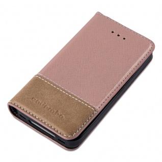 Cadorabo Hülle für Apple iPhone 4 / iPhone 4S in ROSÉ GOLD BRAUN ? Handyhülle mit Magnetverschluss, Standfunktion und Kartenfach ? Case Cover Schutzhülle Etui Tasche Book Klapp Style